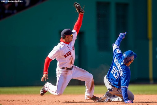 BOSTON, MA - APRIL 17: Marco Hernandez #41 of the Boston Red Sox applies a tag on Edwin Encarnacion #10 of the Toronto Blue Jays during the seventh inning of a game on April 17, 2016 at Fenway Park in Boston, Massachusetts. (Photo by Billie Weiss/Boston Red Sox/Getty Images) *** Local Caption *** Marco Hernandez; Edwin Encarnacion