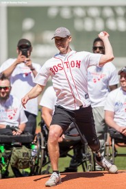 BOSTON, MA - APRIL 17: Boston Marathon bombing survivor Patrick Downes throws a ceremonial first pitch before a game between the Boston Red Sox and the Toronto Blue Jays on April 17, 2016 at Fenway Park in Boston, Massachusetts . (Photo by Billie Weiss/Boston Red Sox/Getty Images) *** Local Caption *** Patrick Downes