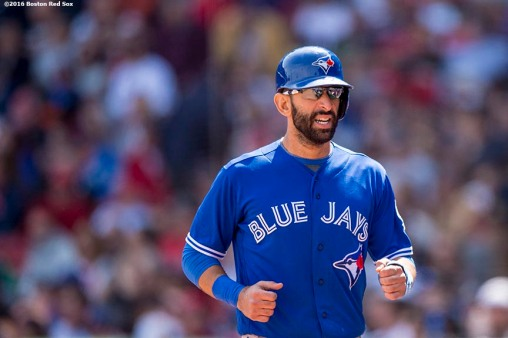 BOSTON, MA - APRIL 18: Jose Bautista #19 of the Toronto Blue Jays reacts after scoring during the eighth inning of a game against the Boston Red Sox on April 18, 2016 at Fenway Park in Boston, Massachusetts . (Photo by Billie Weiss/Boston Red Sox/Getty Images) *** Local Caption *** Jose Bautista