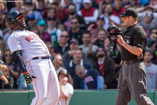 BOSTON, MA - APRIL 18: David Ortiz #34 of the Boston Red Sox reacts after striking out during a pinch hit appearance during the ninth inning of a game against the Toronto Blue Jays on April 18, 2016 at Fenway Park in Boston, Massachusetts . (Photo by Billie Weiss/Boston Red Sox/Getty Images) *** Local Caption *** David Ortiz