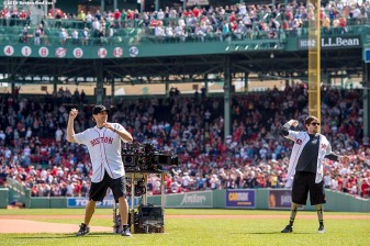 BOSTON, MA - APRIL 18: Actor Jake Gyllenhaal and Boston Marathon bombing survivor Jeff Bauman throw out a ceremonial first pitch together before a game between the Boston Red Sox and the Toronto Blue Jays on April 18, 2016 at Fenway Park in Boston, Massachusetts . (Photo by Billie Weiss/Boston Red Sox/Getty Images) *** Local Caption *** Jake Gyllenhall; Jeff Bauman
