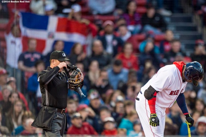 BOSTON, MA - APRIL 20: David Ortiz #34 of the Boston Red Sox digs in to bad as fans wave a Dominican Republic flag during the first inning of a game against the Tampa Bay Rays on April 20, 2016 at Fenway Park in Boston, Massachusetts . (Photo by Billie Weiss/Boston Red Sox/Getty Images) *** Local Caption *** David Ortiz