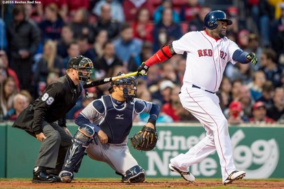 BOSTON, MA - APRIL 20: David Ortiz #34 of the Boston Red Sox hits an RBI double during the first inning of a game against the Tampa Bay Rays on April 20, 2016 at Fenway Park in Boston, Massachusetts . (Photo by Billie Weiss/Boston Red Sox/Getty Images) *** Local Caption *** David Ortiz