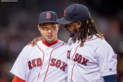 BOSTON, MA - APRIL 20: Hanley Ramirez #13 and Junichi Tazawa #36 of the Boston Red Sox react during the eighth inning of a game against the Tampa Bay Rays on April 20, 2016 at Fenway Park in Boston, Massachusetts . (Photo by Billie Weiss/Boston Red Sox/Getty Images) *** Local Caption *** Hanley Ramirez; Junichi Tazawa