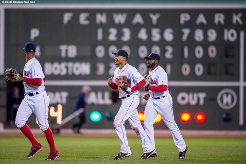 BOSTON, MA - APRIL 20: Chris Young #30, Mookie Betts #50, and Jackie Bradley Jr. #25 react after defeating the Tampa Bay Rays on April 20, 2016 at Fenway Park in Boston, Massachusetts . (Photo by Billie Weiss/Boston Red Sox/Getty Images) *** Local Caption *** Chris Young; Mookie Bettts; Jackie Bradley Jr.