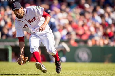 BOSTON, MA - APRIL 21: David Price #24 of the Boston Red Sox fields a ground ball during the fourth inning of a game against the Tampa Bay Rays on April 21, 2016 at Fenway Park in Boston, Massachusetts . (Photo by Billie Weiss/Boston Red Sox/Getty Images) *** Local Caption *** David Price