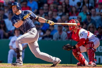 BOSTON, MA - APRIL 21: Evan Longoria #3 of the Tampa Bay Rays hits a go ahead RBI double during the fourth inning of a game against the Tampa Bay Rays on April 21, 2016 at Fenway Park in Boston, Massachusetts . (Photo by Billie Weiss/Boston Red Sox/Getty Images) *** Local Caption *** Evan Longoria