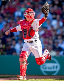 BOSTON, MA - APRIL 21: Christian Vazquez #7 of the Boston Red Sox reaches to catch a foul ball during the fifth inning of a game against the Tampa Bay Rays on April 21, 2016 at Fenway Park in Boston, Massachusetts . (Photo by Billie Weiss/Boston Red Sox/Getty Images) *** Local Caption *** Christian Vazquez