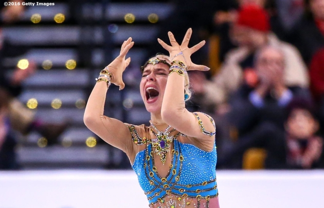 BOSTON, MA - APRIL 2: Anna Pogorilaya of Russia reacts after competing during Day 6 of the ISU World Figure Skating Championships 2016 at TD Garden on April 2, 2016 in Boston, Massachusetts. (Photo by Billie Weiss - ISU/ISU via Getty Images) *** Local Caption *** Anna Pogorilaya
