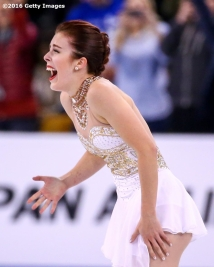 BOSTON, MA - APRIL 2: Ashley Wagner of the United States reacts after competing during Day 6 of the ISU World Figure Skating Championships 2016 at TD Garden on April 2, 2016 in Boston, Massachusetts. (Photo by Billie Weiss - ISU/ISU via Getty Images) *** Local Caption *** Ashley Wagner
