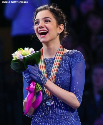 BOSTON, MA - APRIL 2: Evgenia Madvedeva of Russia reacts after earning the gold medal in the ladies free skate during Day 6 of the ISU World Figure Skating Championships 2016 at TD Garden on April 2, 2016 in Boston, Massachusetts. (Photo by Billie Weiss - ISU/ISU via Getty Images) *** Local Caption *** Evgenia Madvedeva