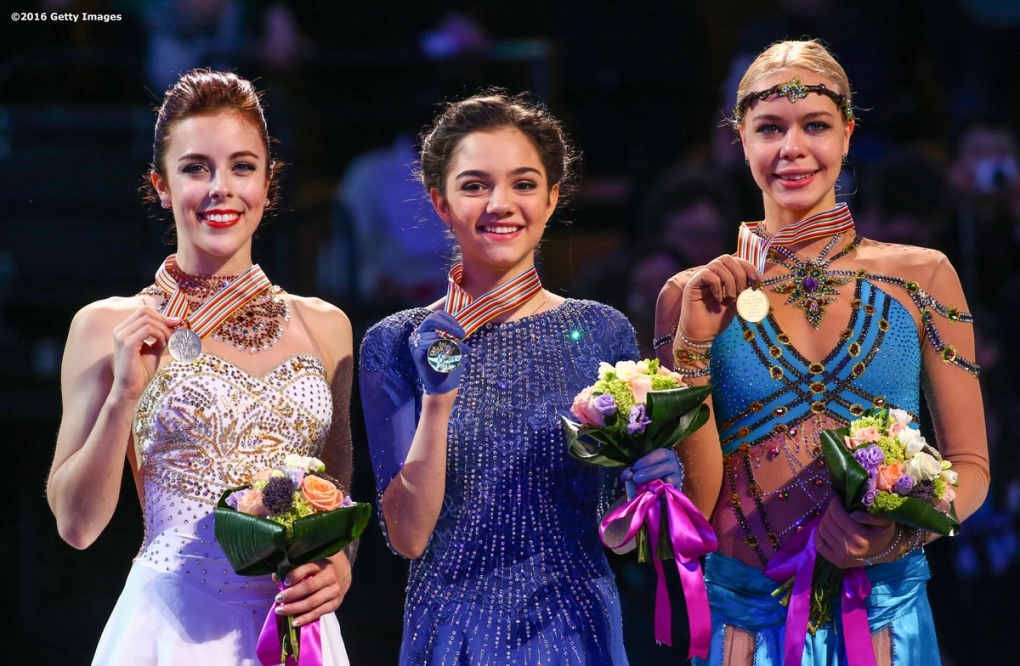 BOSTON, MA - APRIL 2: A medal ceremony is held for the ladies free skate with gold medalist Evgenia Madvedeva of Russia, silver medalist Ashley Wagner of the United States, and bronze medalist Anna Pogorilaya of Russia during Day 6 of the ISU World Figure Skating Championships 2016 at TD Garden on April 2, 2016 in Boston, Massachusetts. (Photo by Billie Weiss - ISU/ISU via Getty Images) *** Local Caption *** Evgenia Madvedeva; Ashley Wagner; Anna Pogorilaya