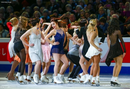 BOSTON, MA - APRIL 3: Ashley Wagner of the United States performs with fellow skaters during the exhibition of champions during Day 7 of the ISU World Figure Skating Championships 2016 at TD Garden on April 3, 2016 in Boston, Massachusetts. (Photo by Billie Weiss - ISU/ISU via Getty Images) *** Local Caption *** Ashley Wagner