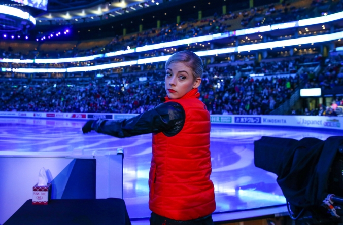 BOSTON, MA - MARCH 31: Gracie Gold of the United States prepares to warm up before competing during Day 4 of the ISU World Figure Skating Championships 2016 at TD Garden on March 31, 2016 in Boston, Massachusetts. (Photo by Billie Weiss - ISU/ISU via Getty Images) *** Local Caption *** Gracie Gold