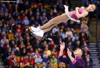 BOSTON, MA - APRIL 2: Cheng Peng and Hao Zhang of China compete during Day 6 of the ISU World Figure Skating Championships 2016 at TD Garden on April 2, 2016 in Boston, Massachusetts. (Photo by Billie Weiss - ISU/ISU via Getty Images) *** Local Caption *** Cheng Peng; Hao Zhang