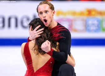 BOSTON, MA - MARCH 31: Madison Chock and Evan Bates of the United States compete during Day 4 of the ISU World Figure Skating Championships 2016 at TD Garden on March 31, 2016 in Boston, Massachusetts. (Photo by Billie Weiss - ISU/ISU via Getty Images) *** Local Caption *** Madison Chock; Evan Bates