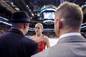 BOSTON, MA - APRIL 2: Gracie Gold of the United States speaks with coaches as she warms up before competing during Day 6 of the ISU World Figure Skating Championships 2016 at TD Garden on April 2, 2016 in Boston, Massachusetts. (Photo by Billie Weiss - ISU/ISU via Getty Images) *** Local Caption *** Gracie Gold