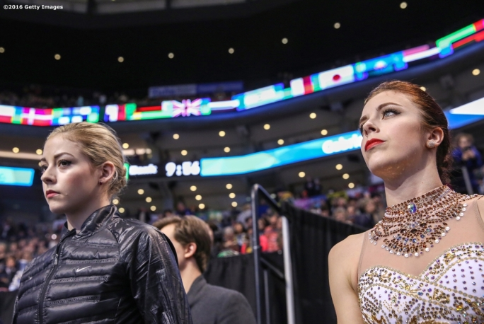 BOSTON, MA - APRIL 2: Gracie Gold of the United States and Ashley Wagner of the United States wait to warm up before competing during Day 6 of the ISU World Figure Skating Championships 2016 at TD Garden on April 2, 2016 in Boston, Massachusetts. (Photo by Billie Weiss - ISU/ISU via Getty Images) *** Local Caption *** Ashley Wagner; Gracie Gold