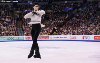 BOSTON, MA - APRIL 1: Yuzuru Hanzu of Japan competes during Day 5 of the ISU World Figure Skating Championships 2016 at TD Garden on April 1, 2016 in Boston, Massachusetts. (Photo by Billie Weiss - ISU/ISU via Getty Images) *** Local Caption *** Yuzuru Hanzu