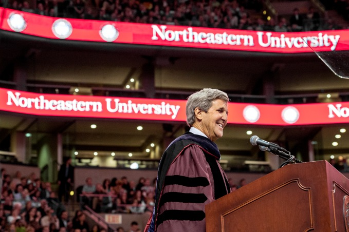 May 6, 2016 - BOSTON, MA. - Northeastern University celebrated its 114th Commencement on May 6, 2016. President Joseph E. Aoun led the undergraduate ceremony, which was held at TD Garden in Boston. Secretary of State John Kerry delivered the Commencement address. Northeastern conferred honorary degrees upon a distinguished group of influential figures: Retired Maj. Gen. Charles Frank Bolden Jr., the administrator of NASA; Susan Hockfield, former president of the Massachusetts Institute of Technology and president-elect of the American Association for the Advancement of Science; and Thomas McCarthy, an award-winning director, screenwriter, and actor whose most recent film, Spotlight, won the 2016 Oscar for Best Picture. Photo by Billie Weiss for Northeastern University