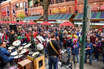 BOSTON, MA - APRIL 28: Fans listen to a Grateful Dead cover band on Yawkey Way during Grateful Dead night before a game between the Boston Red Sox and the Atlanta Braves on April 28, 2016 at Fenway Park in Boston, Massachusetts . (Photo by Billie Weiss/Boston Red Sox/Getty Images) *** Local Caption ***