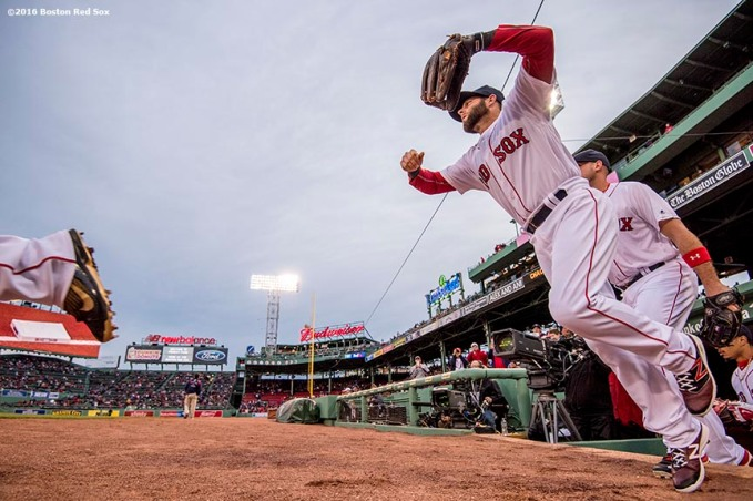 BOSTON, MA - APRIL 28: Dustin Pedroia #15 of the Boston Red Sox runs onto the field before a game against the Atlanta Braves on April 28, 2016 at Fenway Park in Boston, Massachusetts . (Photo by Billie Weiss/Boston Red Sox/Getty Images) *** Local Caption *** Dustin Pedroia