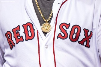 BOSTON, MA - APRIL 30: The necklace of David Ortiz #34 of the Boston Red Sox is shown during the fifth inning of a game against the New York Yankees on April 30, 2016 at Fenway Park in Boston, Massachusetts . (Photo by Billie Weiss/Boston Red Sox/Getty Images) *** Local Caption *** David Ortiz