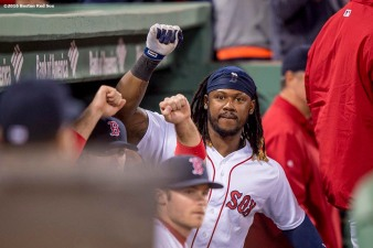BOSTON, MA - APRIL 30: Hanley Ramirez #13 of the Boston Red Sox reacts during the sixth inning of a game against the New York Yankees on April 30, 2016 at Fenway Park in Boston, Massachusetts . (Photo by Billie Weiss/Boston Red Sox/Getty Images) *** Local Caption *** Halney Ramirez