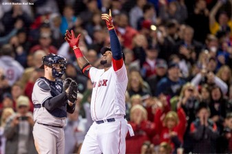 BOSTON, MA - APRIL 30: David Ortiz #34 of the Boston Red Sox reacts after hitting a solo home run during the seventh inning of a game against the New York Yankees on April 30, 2016 at Fenway Park in Boston, Massachusetts . (Photo by Billie Weiss/Boston Red Sox/Getty Images) *** Local Caption *** David Ortiz