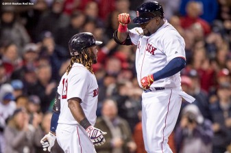 BOSTON, MA - APRIL 30: David Ortiz #34 of the Boston Red Sox reacts with Hanley Ramirez #13 after hitting a solo home run during the seventh inning of a game against the New York Yankees on April 30, 2016 at Fenway Park in Boston, Massachusetts . (Photo by Billie Weiss/Boston Red Sox/Getty Images) *** Local Caption *** David Ortiz; Hanley Ramirez