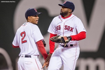 BOSTON, MA - APRIL 30: Xander Bogaerts #2 and Jackie Bradley Jr. #25 of the Boston Red Sox celebrate a victory against the New York Yankees on April 30, 2016 at Fenway Park in Boston, Massachusetts . (Photo by Billie Weiss/Boston Red Sox/Getty Images) *** Local Caption *** Xander Bogaerts; Jackie Bradley Jr.