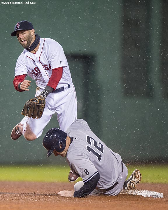 BOSTON, MA - MAY 1: Dustin Pedroia #15 of the Boston Red Sox turns a double play as Chase Headley #12 of the New York Yankees slides during the second inning of a game on May 1, 2016 at Fenway Park in Boston, Massachusetts. (Photo by Billie Weiss/Boston Red Sox/Getty Images) *** Local Caption *** Dustin Pedroia; Chase Headley