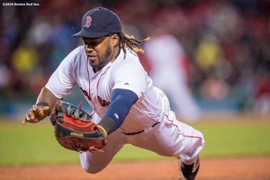 BOSTON, MA - MAY 1: Hanley Ramirez #13 of the Boston Red Sox dives as he attempts to catch a line drive during the third inning of a game against the New York Yankees on May 1, 2016 at Fenway Park in Boston, Massachusetts. (Photo by Billie Weiss/Boston Red Sox/Getty Images) *** Local Caption *** Hanley Ramirez