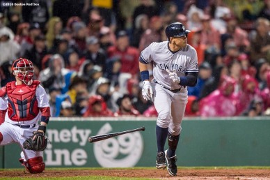 BOSTON, MA - MAY 1: Alex Rodriguez #13 of the New York Yankees hits a two run home run during the third inning of a game against the Boston Red Sox on May 1, 2016 at Fenway Park in Boston, Massachusetts. (Photo by Billie Weiss/Boston Red Sox/Getty Images) *** Local Caption *** Alex Rodriguez