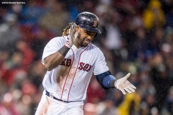 BOSTON, MA - MAY 1: Hanley Ramirez #13 of the Boston Red Sox reacts after hitting an RBI single during the third inning of a game against the New York Yankees on May 1, 2016 at Fenway Park in Boston, Massachusetts. (Photo by Billie Weiss/Boston Red Sox/Getty Images) *** Local Caption *** Hanley Ramirez