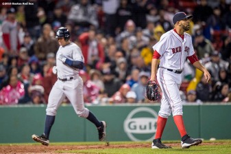 BOSTON, MA - MAY 1: David Price #24 of the Boston Red Sox reacts as Alex Rodriguez #13 of the New York Yankees scores during the fifth inning of a game on May 1, 2016 at Fenway Park in Boston, Massachusetts. (Photo by Billie Weiss/Boston Red Sox/Getty Images) *** Local Caption *** David Price; Alex Rodriguez