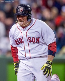 BOSTON, MA - MAY 1: Christian Vazquez #7 of the Boston Red Sox reacts after hitting a go ahead two run home run during the seventh inning of a game against the New York Yankees on May 1, 2016 at Fenway Park in Boston, Massachusetts. (Photo by Billie Weiss/Boston Red Sox/Getty Images) *** Local Caption *** Christian Vazquez