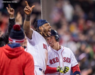 BOSTON, MA - MAY 1: Christian Vazquez #7 of the Boston Red Sox reacts with Hanley Ramirez #13 after hitting a go ahead two run home run during the seventh inning of a game against the New York Yankees on May 1, 2016 at Fenway Park in Boston, Massachusetts. (Photo by Billie Weiss/Boston Red Sox/Getty Images) *** Local Caption *** Christian Vazquez; Hanley Ramirez