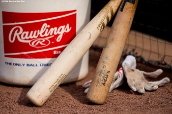 BOSTON, MA - MAY 10: The bat of catcher Christian Vazquez is shown before a game between the Boston Red Sox and the Oakland Athletics on May 10, 2016 at Fenway Park in Boston, Massachusetts. (Photo by Billie Weiss/Boston Red Sox/Getty Images) *** Local Caption ***
