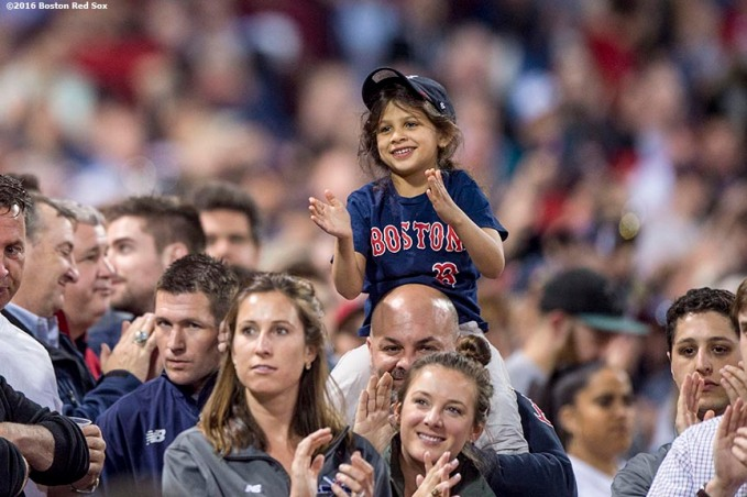 BOSTON, MA - MAY 10: A young fan cheers during a game between the Boston Red Sox and the Oakland Athletics on May 10, 2016 at Fenway Park in Boston, Massachusetts. (Photo by Billie Weiss/Boston Red Sox/Getty Images) *** Local Caption ***