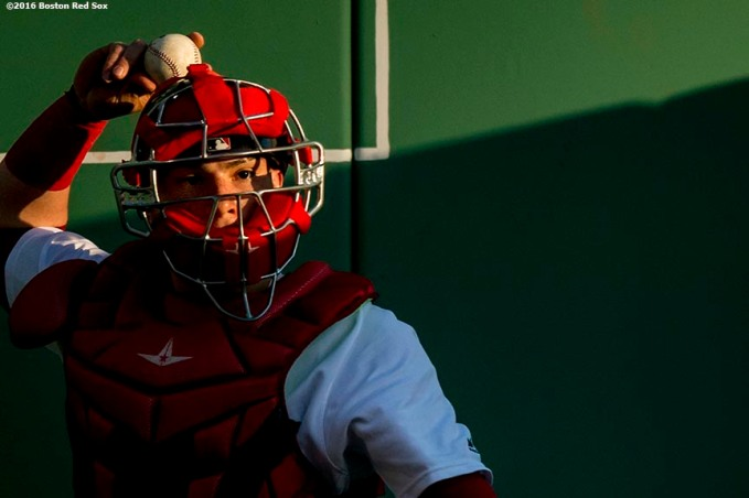 BOSTON, MA - MAY 11: Christian Vazquez #7 of the Boston Red Sox warms up in the bullpen before a game against the Oakland Athletics on May 11, 2016 at Fenway Park in Boston, Massachusetts. (Photo by Billie Weiss/Boston Red Sox/Getty Images) *** Local Caption *** Christian Vazquez