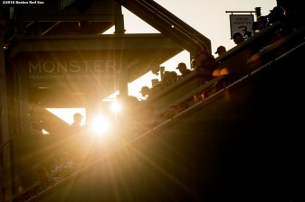 BOSTON, MA - MAY 11: Sun shines behind the Green Monster Seats before a game between the Boston Red Sox and the Oakland Athletics on May 11, 2016 at Fenway Park in Boston, Massachusetts. (Photo by Billie Weiss/Boston Red Sox/Getty Images) *** Local Caption ***