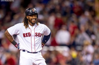 BOSTON, MA - MAY 11: Hanley Ramirez #13 of the Boston Red Sox reacts after hitting an RBI double during the fifth inning of a game against the Oakland Athletics on May 11, 2016 at Fenway Park in Boston, Massachusetts. (Photo by Billie Weiss/Boston Red Sox/Getty Images) *** Local Caption *** Hanley Ramirez