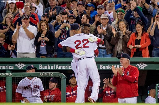 BOSTON, MA - MAY 11: David Ortiz #34 hugs Rick Porcello #22 of the Boston Red Sox as he exits the game during the seventh inning of a game against the Oakland Athletics on May 11, 2016 at Fenway Park in Boston, Massachusetts. (Photo by Billie Weiss/Boston Red Sox/Getty Images) *** Local Caption *** Rick Porcello; David Ortiz
