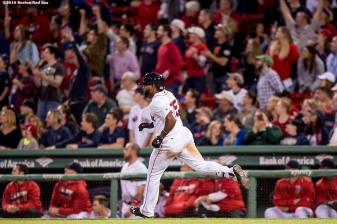 BOSTON, MA - MAY 11: Jackie Bradley Jr. #25 of the Boston Red Sox rounds the bases after hitting a two run home run during the eighth inning of a game against the Oakland Athletics on May 11, 2016 at Fenway Park in Boston, Massachusetts. It was his second home run of the night. (Photo by Billie Weiss/Boston Red Sox/Getty Images) *** Local Caption *** Jackie Bradley Jr.