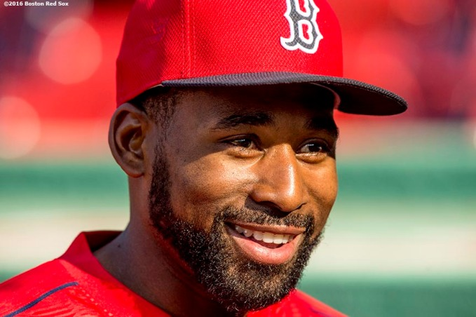 BOSTON, MA - MAY 12: Jackie Bradley Jr. #25 of the Boston Red Sox reacts before a game against the Houston Astros on May 12, 2016 at Fenway Park in Boston, Massachusetts. (Photo by Billie Weiss/Boston Red Sox/Getty Images) *** Local Caption *** Jackie Bradley Jr.