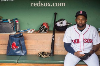 BOSTON, MA - MAY 12: Jackie Bradley Jr. #25 of the Boston Red Sox sits in the dugout before a game against the Houston Astros on May 12, 2016 at Fenway Park in Boston, Massachusetts. (Photo by Billie Weiss/Boston Red Sox/Getty Images) *** Local Caption *** Jackie Bradley Jr.