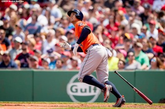 BOSTON, MA - MAY 14: George Springer #4 of the Houston Astros hits a grand slam during the second inning of a game against the Houston Astros on May 14, 2016 at Fenway Park in Boston, Massachusetts. (Photo by Billie Weiss/Boston Red Sox/Getty Images) *** Local Caption *** George Springer