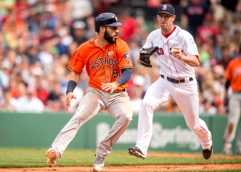 BOSTON, MA - MAY 14: Tommy Layne #59 of the Boston Red Sox tags out Marwin Gonzalez #9 of the Houston Astros as he is caught in a run down during the eighth inning of a game on May 14, 2016 at Fenway Park in Boston, Massachusetts. (Photo by Billie Weiss/Boston Red Sox/Getty Images) *** Local Caption *** Tommy Layne; Marwin Gonzalez