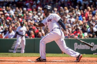 BOSTON, MA - MAY 15: Hanley Ramirez #13 of the Boston Red Sox hits an RBI double during the first inning of a game against the Houston Astros on May 15, 2016 at Fenway Park in Boston, Massachusetts. (Photo by Billie Weiss/Boston Red Sox/Getty Images) *** Local Caption *** Hanley Ramirez
